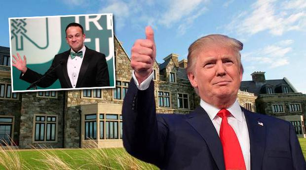 Doonbeg Lodge, with Donald Trump (inset) and Leo Varadkar. Composite Image (Photo: MANDEL NGAN/AFP/Getty Images/Niall Carson)