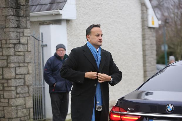 07/01/2020 An Taoiseach Leo Varadkar TD arriving at the funeral of RTE broadcaster Marian Finucane at the church of St Brigids in Kill Co Kildare today. Pic Gareth Chaney / Collins Photos.