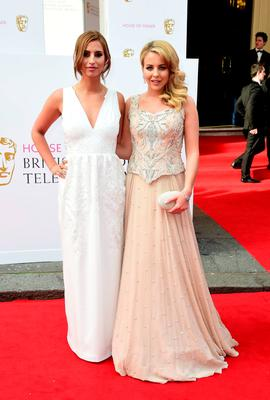 Ferne McCann (left) and Lydia Bright arrive for the House of Fraser British Academy of Television Awards at the Theatre Royal, Drury Lane in London. PRESS ASSOCIATION Photo. Picture date: Sunday May 10, 2015. See PA story SHOWBIZ Bafta. Photo credit should read: Ian West/PA Wire
