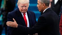 President Barack Obama (R) greets President elect Donald Trump at inauguration ceremonies swearing in Donald Trump as the 45th president of the United States on the West front of the U.S. Capitol in Washington, U.S. REUTERS/Carlos Barria/File Photo