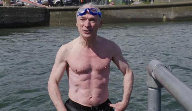 Richard Bruton after taking a dip