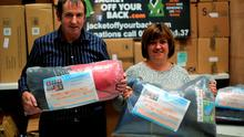 Volunteers Kevin and Sue Kelly  from the Jacket Off Your Back charity