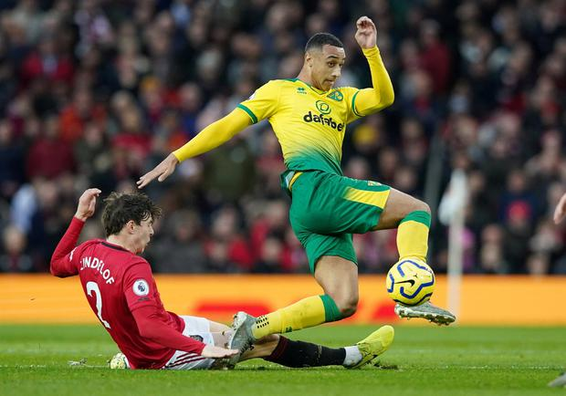Adam Idah's first Premier League start ended in a 4-0 defeat at Old Trafford. REUTERS/Jon Super