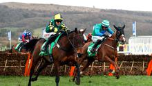 Lisnagar Oscar ridden by jockey Adam Wedge (left) on his way to winning the Paddy Power Stayers' Hurdle during day three of the Cheltenham Festival. Photo credit: Tim Goode/PA Wire