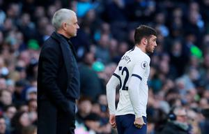 Tottenham Hotspur's Troy Parrott waits to be substituted on as manager Jose Mourinho looks on. Photo: Reuters/Andrew Couldridge
