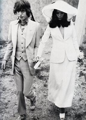Mick and Biance Jagger on their wedding day in 1971