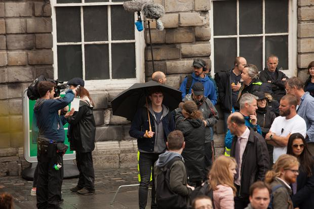 Actor Paul Mescal films scenes from new series Normal People in Trinity College Dublin. Picture: Owen Breslin