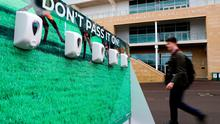 Antibacterial Hand Sanitiser dispensers due to the Coronavirus outbreak on day one of the Cheltenham Festival at Cheltenham Racecourse, Cheltenham.