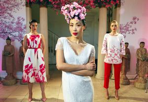 Yomiko wears a Poppy Ivory Fine Lace Bridal Gown with delicate scatter beadwork (bespoke) and Karen Fitzpatrick wears a Lilianna Orchid Silk Organza Digital Print Dress at EUR1895 and Sarah Morrisey wears a Pari Ivory Crepe Tunic with Pearl Embroidered Sleeves at EUR1995 and Crista Red Capri Trousers at EUR395 pictured at the launch of the Louise Kennedy Spring Summer Collection 2015.. Picture Colin Keegan, Collins Dublin.