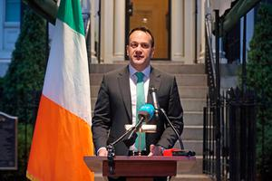 Taoiseach Leo Varadkar at Blair House, Washington DC, during a press conference on the status of coronavirus in the Republic of Ireland. Photo: Niall Carson/PA Wire