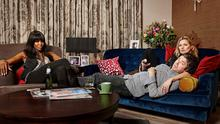 Naomi Campbell, Noel Gallagher and Kate Moss taking part in the Gogglebox Celebrity Special