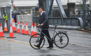 Eamon Ryan arrives at the Convention Centre