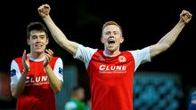 29 May 2015;  St Patrick's Athletic's Sean Hoare and Lee Desmond celebrate at the end of the game. Irish Daily Mail FAI Senior Cup, Second Round, St Patrick's Athletic v Shamrock Rovers. Richmond Park, Dublin. Picture credit: David Maher / SPORTSFILE