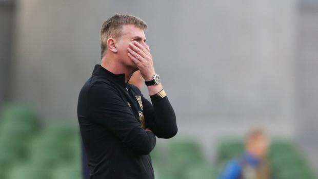 Stephen Kenny watches on during Ireland's defeat against Finland. Photo: Niall Carson/Pool via Reuters
