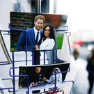 Merchandise depicting Britain's Prince Harry and Meghan, Duchess of Sussex, are seen on display in a souvenir shop near Buckingham Palace in London. Photo: REUTERS/Henry Nicholls