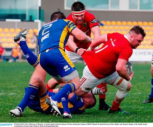 25 March 2017; Dave Kilcoyne of Munster  in action against Federico Ruzza of Zebre during the Guinness PRO12 Round 18 match between Zebre Rugby and Munster Rugby at the Stadio Sergio Lanfranchi in Parma, Italy. Photo by Roberto Bregani/Sportsfile