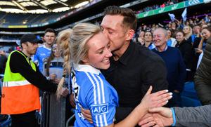 Paul Flynn congratulating his wife Fiona Hudson after Dublin's All-Ireland win in 2017. Photo: Sportsfile