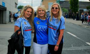 30/08/2015   GAA fans (L to r) Orla Dunne, Emer Maher & Fiona Dunne all from Templeogue at the GAA Semi Final between Dublin & Mayo in Croke Park, Dublin. Photo: Gareth Chaney Collins