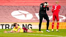 Liverpool goalkeeper Alisson Becker reacts after fouling Ashley Barnes and giving away a penalty, which Barnes converted. Photo: PA