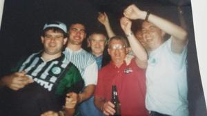 Joe McCarthy (left) and his friend Michael Moynihan (second from left) alongside fans including Roy Keane's father Maurice (third from left) in New York