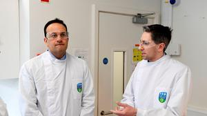 Taoiseach Leo Varadkar and Minister for Health Simon Harris (right) during a visit to the UCD National Virus Reference Laboratory, University College Dublin, in Belfield, Dublin. Photo: Aidan Crawley/PA Wire