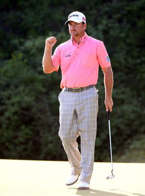 Graeme McDowell of Northern Ireland celebrates after beating Thongchai Jaidee 2&1 in the final of the Volvo World Match Play Championship at Thracian Cliffs Golf & Beach Resort, Bulgaria.