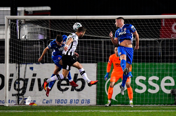 GREAT DANE: Dundalk's Dane Massey scores in last night's SSE Airtricity League Premier Division clash with St Patrick's Athletic. Pic: Sportsfile.