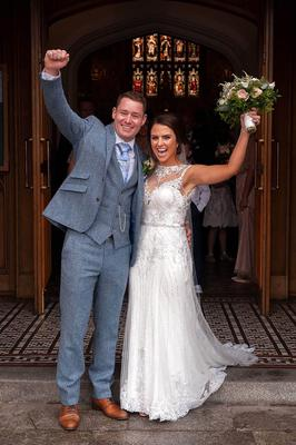 Katie Woods on her wedding day with her husband Joseph. Photos: Ciara Wilkinson