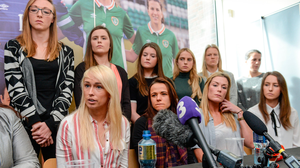 Stephanie Roche speaks to the media about conditions for the women's national team at Liberty Hall in 2017 alongside (from left) Aine O'Gorman, Emma Byrne and Karen Duggan. Photo: Cody Glenn/Sportsfile