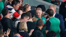 Ireland head coach Joe Schmidt with fans following the mauling by his home country in the Tokyo Stadium. Photo: REUTERS/Issei Kato