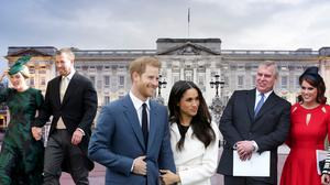 (L to R) Autumn and Peter Philips, Prince Harry and Meghan Markle, and Prince Andrew with daughters Princess Eugenie and Princess Beatrice