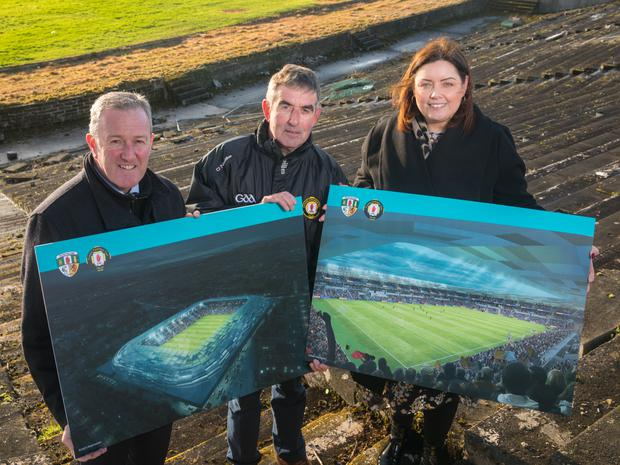 Communities Minister Deirdre Hargey, Tom Daly, the chairman of Casement Park Stadium Development Project Board, and Finance Minister Conor Murphy at Casement Park
