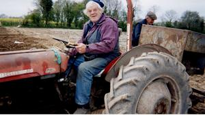Big Tom on his Ferguson 35 while sowing potatoes in Co Monaghan.