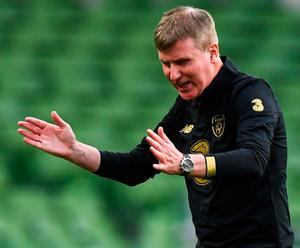 Ireland manager Stephen Kenny reacts as his side falls behind against Finland. Photo: Sportsfile