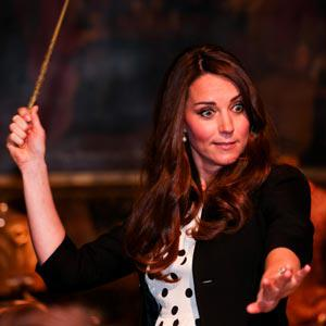 Kate Middleton shows her skills with a wand at Warner Bros Studios in London