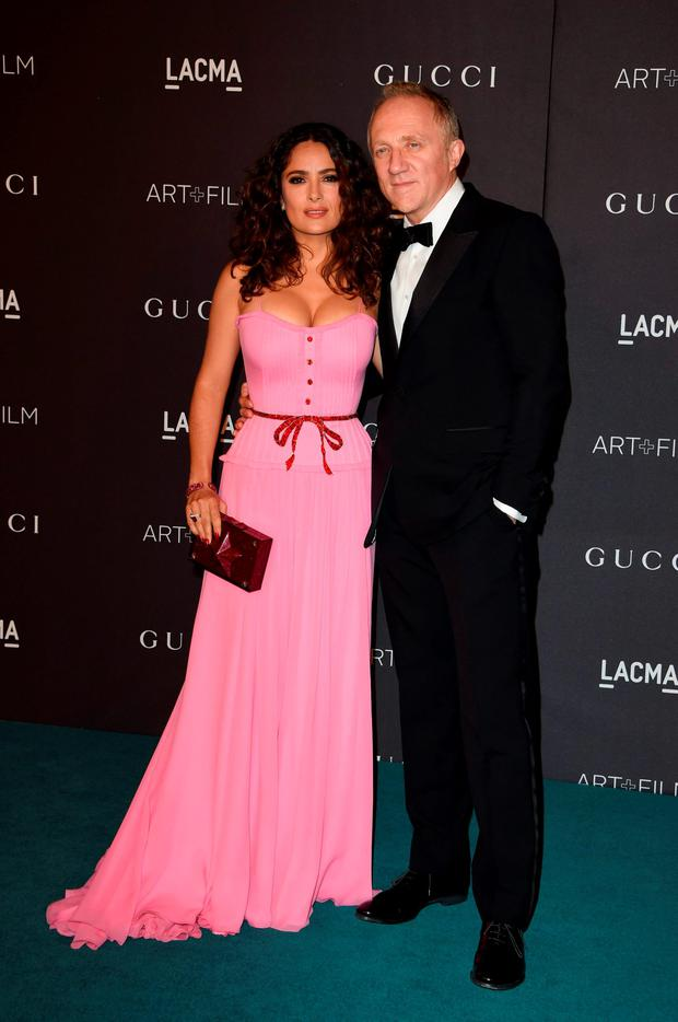 Actress Salma Hayek (L) and Francois-Henri Pinault arrive for the LACMA 2015 Art+Film Gala Honoring James Turrell and Alejandro G Iñárritu, Presented by Gucci