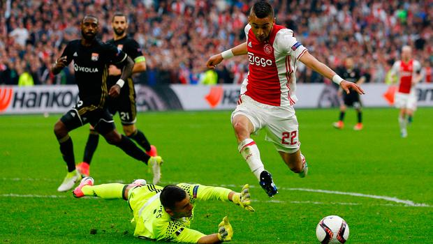 Hakim Ziyech in action for Ajax in the Europa League. Photo: Reuters