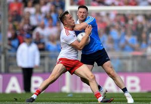 BIG DAY: Tyrone's Kieran McGeary and Dublin's Philip McMahon contest possession during last September's All-Ireland SFC final. Photo: Seb Daly/Sportsfile