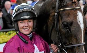 27 April 2016; Katie Walsh poses with mount Blow By Blow after winning her first Grade One race, the Attheraces.com Champion I.N.H. Flat Race. Punchestown, Co. Kildare. Picture credit: Seb Daly / SPORTSFILE