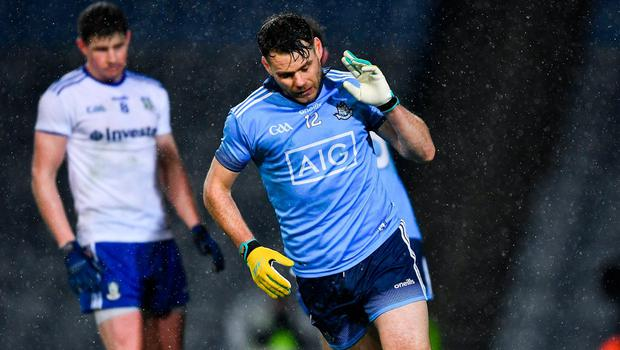 Dublin's Kevin McManamon celebrates scoring a goal in the 70th minute against Monaghan on Saturday. Photo: Ray McManus/Sportsfile