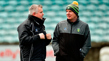 Brains trust: Stephen Rochford with Donegal manager Declan Bonner. Photo by Oliver McVeigh/Sportsfile