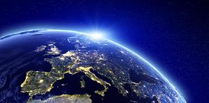 City lights of Europe. Elements of this image furnished by NASA