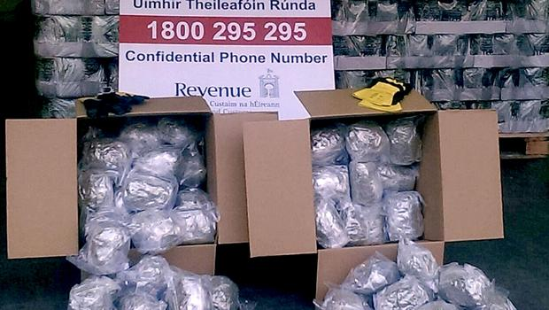 Undated handout photo issued by the Office of the Revenue Commissioners of a massive haul of cannabis worth €4.5m
