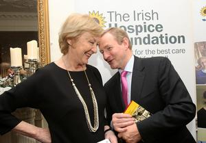 Taoiseach Enda Kenny,TD and broadcaster Marian Finucane at the  launch  the Irish Hospice Foundation's 2016 Commemorative and 30th anniversary programme held in  the Stephens Green Club yesterday.  Pic Tom Burke 3/12/2015