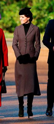 The Duchess of Cambridge leaves following a service to mark the 100th anniversary of the end of the doomed First World War Gallipoli campaign at the Sandringham war memorial cross
