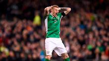 James McClean of Republic of Ireland reacts to a missed chance during the FIFA World Cup Qualifier Group D match between Republic of Ireland and Wales at the Aviva Stadium in Dublin. Photo by Seb Daly/Sportsfile
