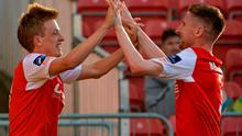 26 June 2015; Chris Forrester, St Patrick's Athletic, celebrates with Ian Bermingham after scoring against Longford Town. SSE Airtricity League Premier Division, St Patrick's Athletic v Longford Town, Richmond Park, Dublin. Picture credit: Sam Barnes / SPORTSFILE