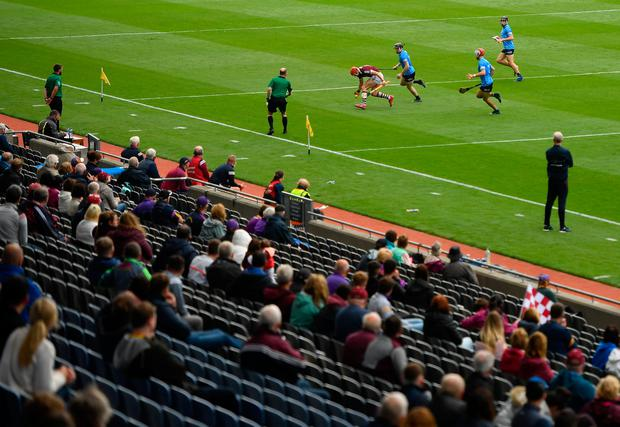 A general view of action during the Leinster GAA Hurling Senior Championship semi-final match between Dublin and Galway at Croke Park recently. Photo by Seb Daly/Sportsfile