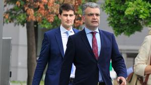 New jobs: Chief Whip Jack Chambers and Agriculture Minister Dara Calleary on their way to Áras an Uachtaráin yesterday