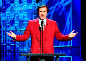 """Actor Will Ferrell (in character as """"Ron Burgundy"""") speaks onstage at The Comedy Central Roast of Justin Bieber at Sony Pictures Studios"""